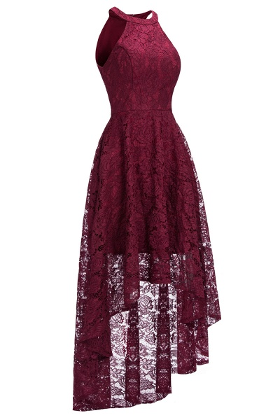 Burgundy Halter Sleeveless Sheath Lace Dresses_7