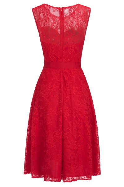 A-line Sleeveless Burgundy Lace Dresses with Bow_2