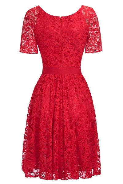 Elegant V-neck Short Sleeves Lace Dresses with Bow Sash_7