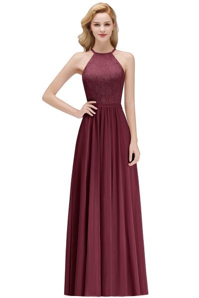 MARIANNA | A-line Sleeveless Halter Long Lace Chiffon Bridesmaid Dresses_2