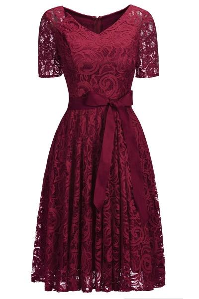 Elegant V-neck Short Sleeves Lace Dresses with Bow Sash_2