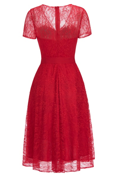 Short Sleeves V-neck Lace Dresses with Bow Sash_12
