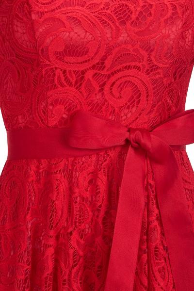 Elegant V-neck Short Sleeves Lace Dresses with Bow Sash_8