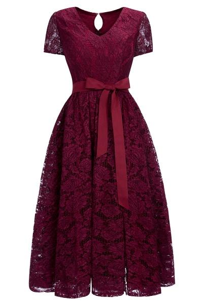 Burgundy Short Sleeves Flower Lace V-neck Dresses with Sash_1