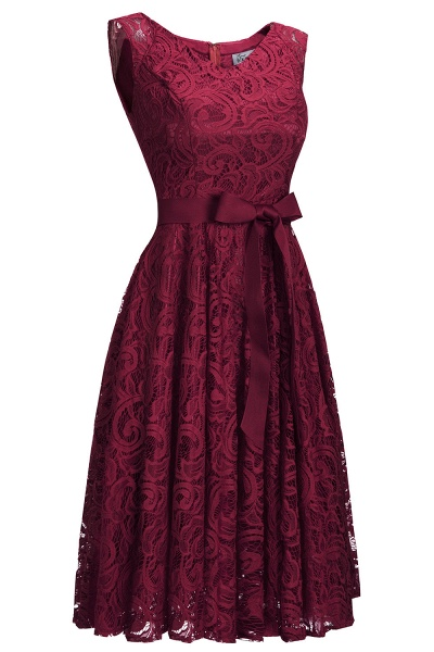 Simple Sleeveless A-line Red Lace Dresses with Ribbon Bow_4