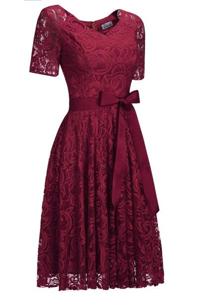Elegant V-neck Short Sleeves Lace Dresses with Bow Sash_1