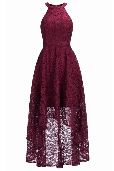 Burgundy Halter Sleeveless Sheath Lace Dresses_2