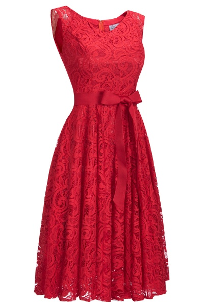 Simple Sleeveless A-line Red Lace Dresses with Ribbon Bow_8