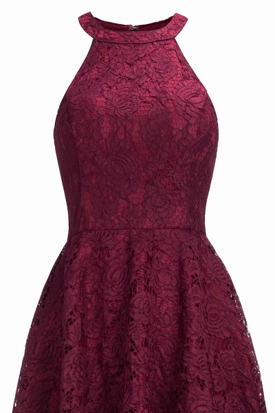 Burgundy Halter Sleeveless Sheath Lace Dresses_9