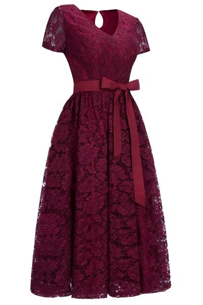 Burgundy Short Sleeves Flower Lace V-neck Dresses with Sash_2