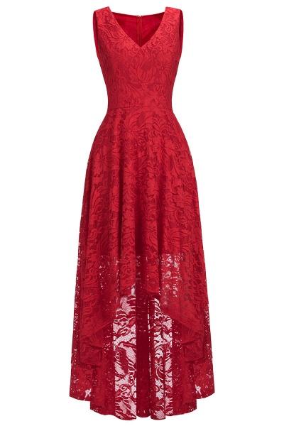 A-line V-neck Sleeveless Burgundy Hi-lo Lace Dresses_9