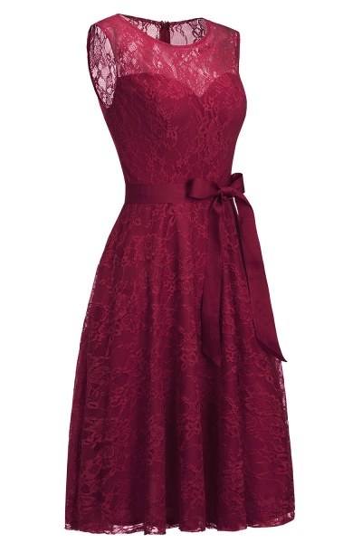 A-line Sleeveless Burgundy Lace Dresses with Bow_3