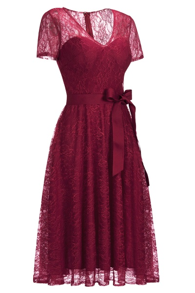 Short Sleeves V-neck Lace Dresses with Bow Sash_17