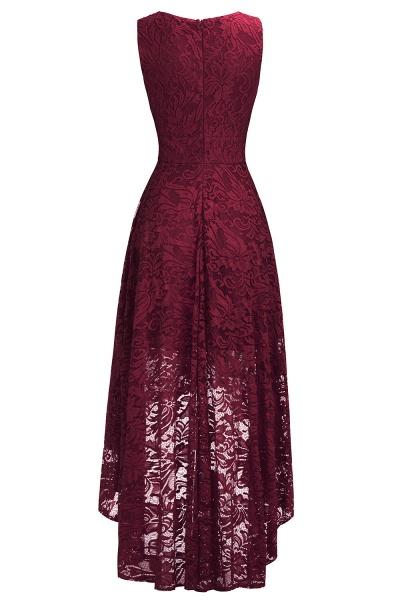 A-line V-neck Sleeveless Burgundy Hi-lo Lace Dresses_13