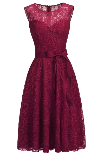 A-line Sleeveless Burgundy Lace Dresses with Bow_11