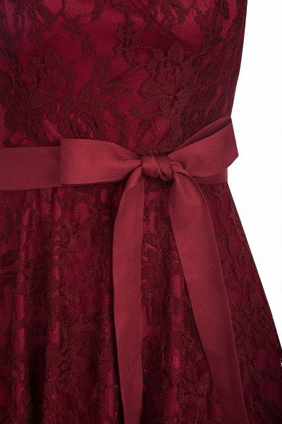 Burgundy Lace Short Sleeves A-line Dresses with Bow_4