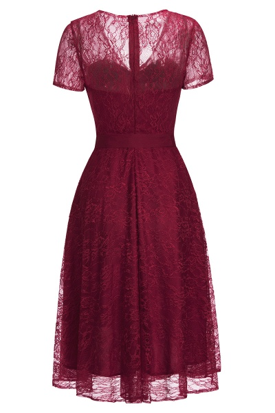 Short Sleeves V-neck Lace Dresses with Bow Sash_15