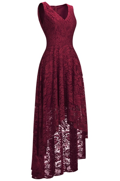 A-line V-neck Sleeveless Burgundy Hi-lo Lace Dresses_3