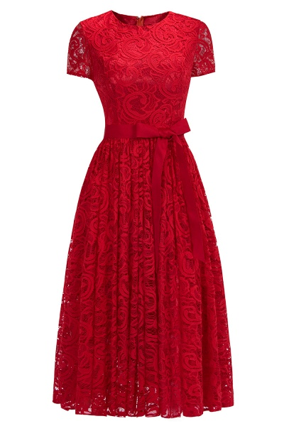 Short Sleeves Seath Red Lace Dresses with Ribbon Bow_1