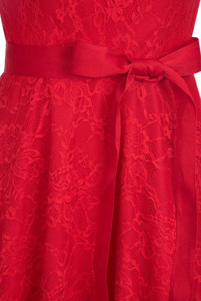 A-line Sleeveless Burgundy Lace Dresses with Bow_14