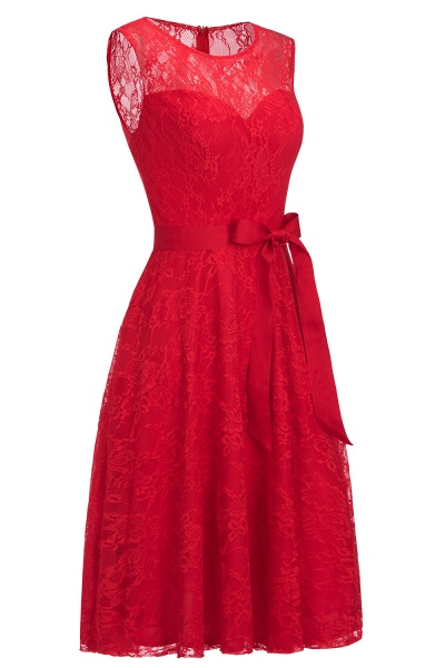 A-line Sleeveless Burgundy Lace Dresses with Bow_12