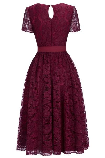 Burgundy Short Sleeves Flower Lace V-neck Dresses with Sash_3