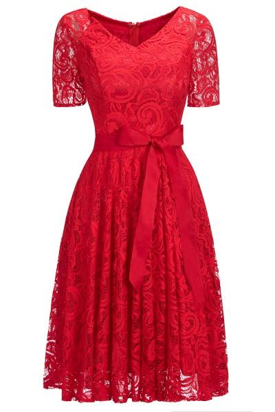 Elegant V-neck Short Sleeves Lace Dresses with Bow Sash_3