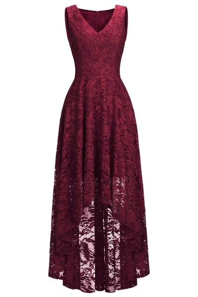 A-line V-neck Sleeveless Burgundy Hi-lo Lace Dresses_12