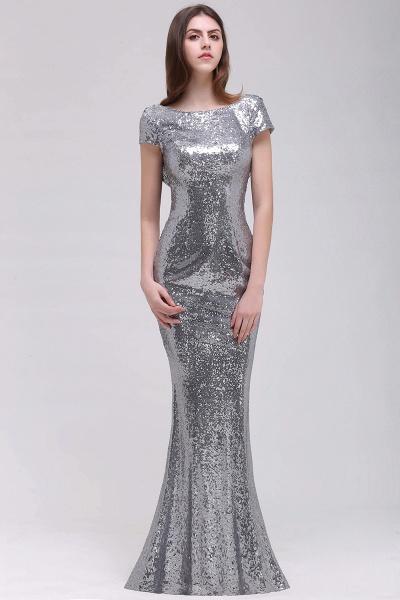 Mermaid Sparkly Sequins Scoop Short-Sleeves Floor-Length Bridesmaid Dresses_1