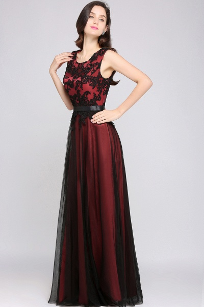 Elegant A-Line Tulle Lace Sleeveless Floor-Length Bridesmaid Dress with Sash_1