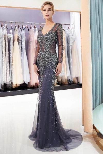 Excellent V-neck Tulle Mermaid Prom Dress_2