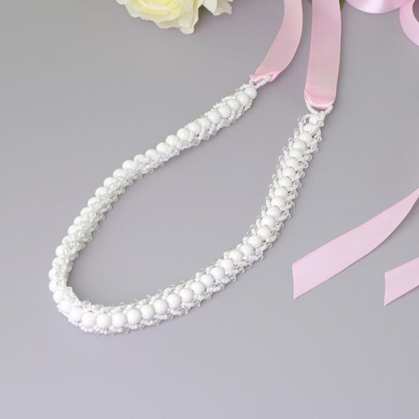 Satin Beadings Wedding Sash with Pearls_3