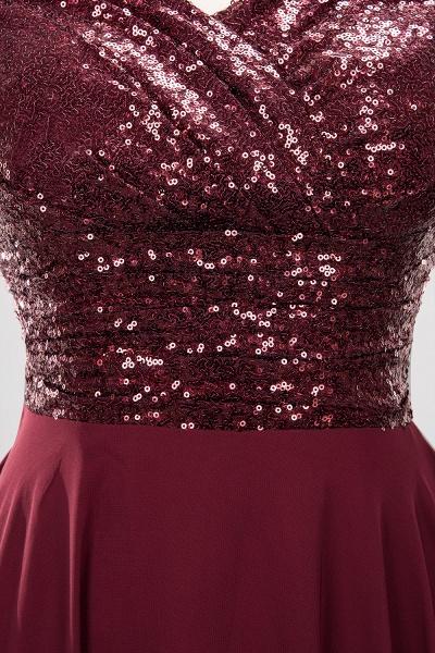 BM0156 A-Line Burgundy Chiffon Sequined V-Neck Sleeveless Ruffles Bridesmaid Dresses_15