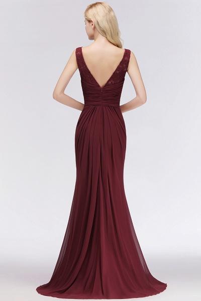 BM0058 Burgundy Chiffon Lace Scoop A-Line Ruffles Long Bridesmaid Dresses_2