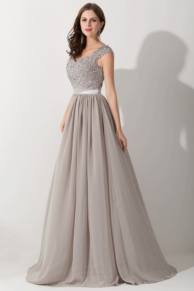 A-line Chiffon V-Neck Sleeveless Ruffles Floor-Length Bridesmaid Dress with Appliques_3