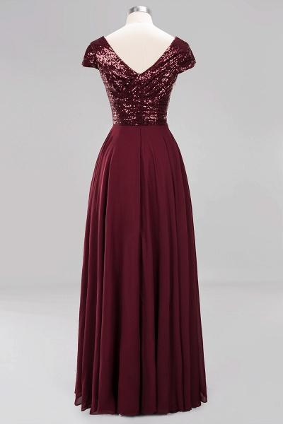 BM0156 A-Line Burgundy Chiffon Sequined V-Neck Sleeveless Ruffles Bridesmaid Dresses_10