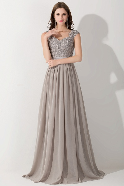 A-line Chiffon V-Neck Sleeveless Ruffles Floor-Length Bridesmaid Dress with Appliques_1