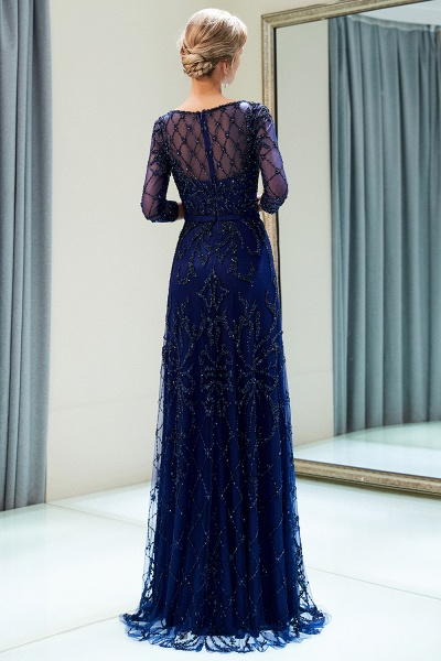 A-line Illusion Neckline Beading Evening Gowns with Sleeves_3