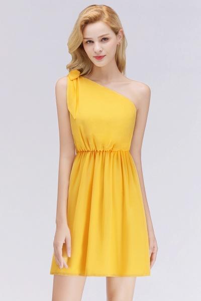 BM0039 Elegant Chiffon One-Shoulder Sleeveless Ruffles Short Bridesmaid Dresses with Bow_1