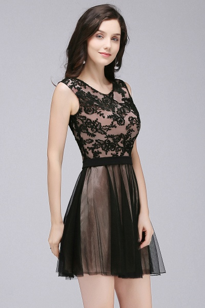 A-Line Tulle Lace Scoop Sleeveless Short Bridesmaid Dresses with Appliques_3