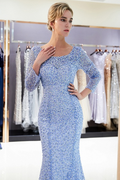 Long Sleeve Mermaid Floor Length Sequins Formal Party Dresses_8