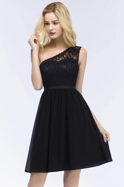 A-Line Chiffon Lace One-shoulder Short-Sleeves Knee-Length Bridesmaid Dresses with Sash_4