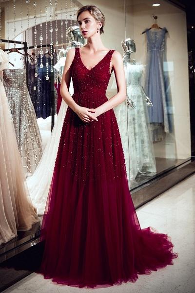 A-line V-neck Sleeveless Burgundy Sequins Tulle Long Evening Dresses_5