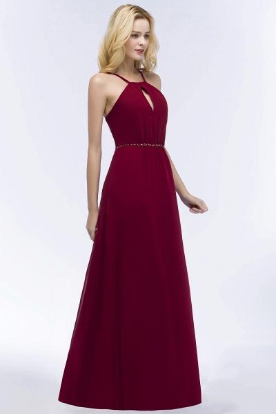 Simple A-Line Chiffon Spaghetti Straps Sleeveless Floor-Length Bridesmaid Dresses with Beading Sash_4