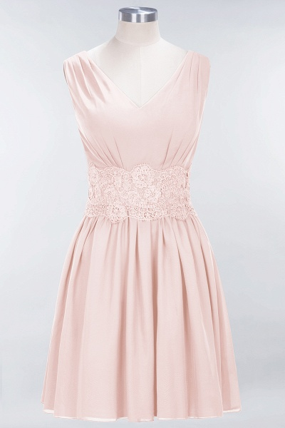 A-line Chiffon Lace V-Neck Sleeveless Mini Bridesmaid Dresses_5
