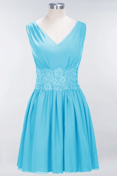 A-line Chiffon Lace V-Neck Sleeveless Mini Bridesmaid Dresses_23
