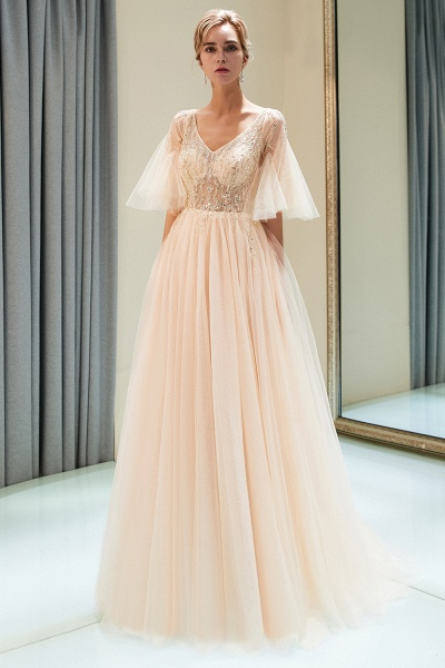 Modest Tulle A-line Prom Dress_1