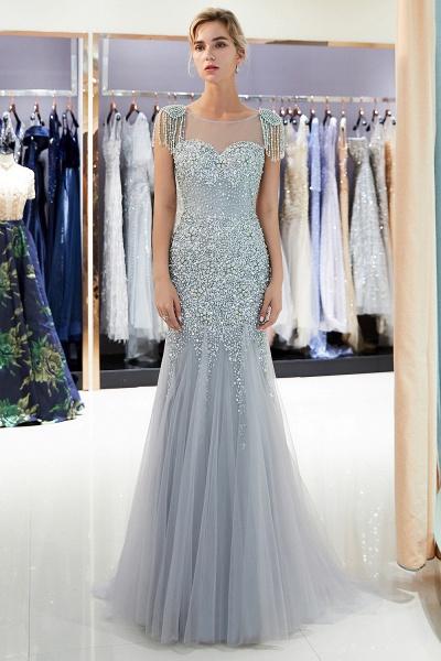 Fascinating Jewel Tulle Mermaid Prom Dress_9