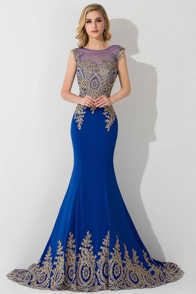 Mermaid Chiffon Scoop Sleeveless Court Train Evening Dress with Appliques_1