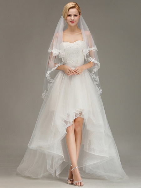 Two Layers Tulle Lace Edge Comb Wedding Veil_6